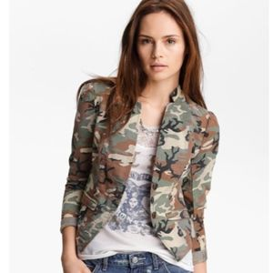 Free People Textured Camo Blazer Jacket